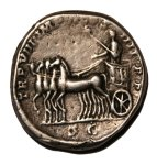 a Denarius coin featuring Commodus, Marcus' son