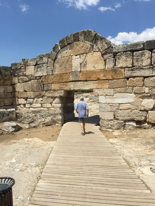 The author, walking through the city gate at Hierapolis
