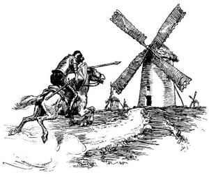 Don Quijote fighting windmills