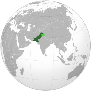 Pakistan on the globe