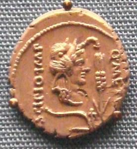 Silver denarius of Metellus Scipio